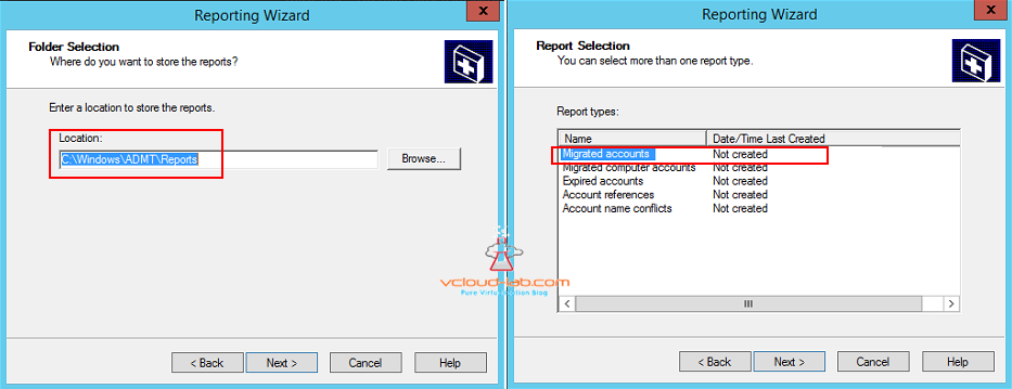 Active directory users migration reports folder selection and reporting and report types migrated accounts