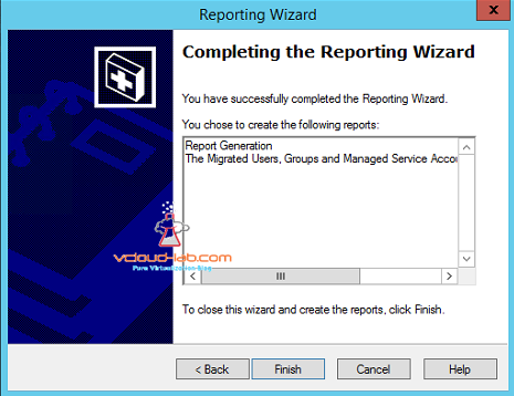 active directory reporting wizard finish