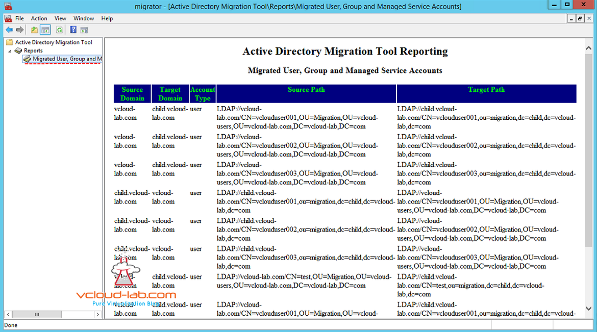 active directory migration admt reporting migrated user, group, managed service accounts