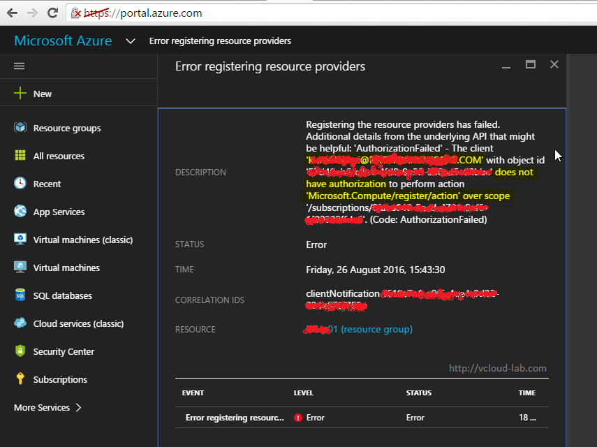 Microsoft Azure Error registering resource providers authorization failed