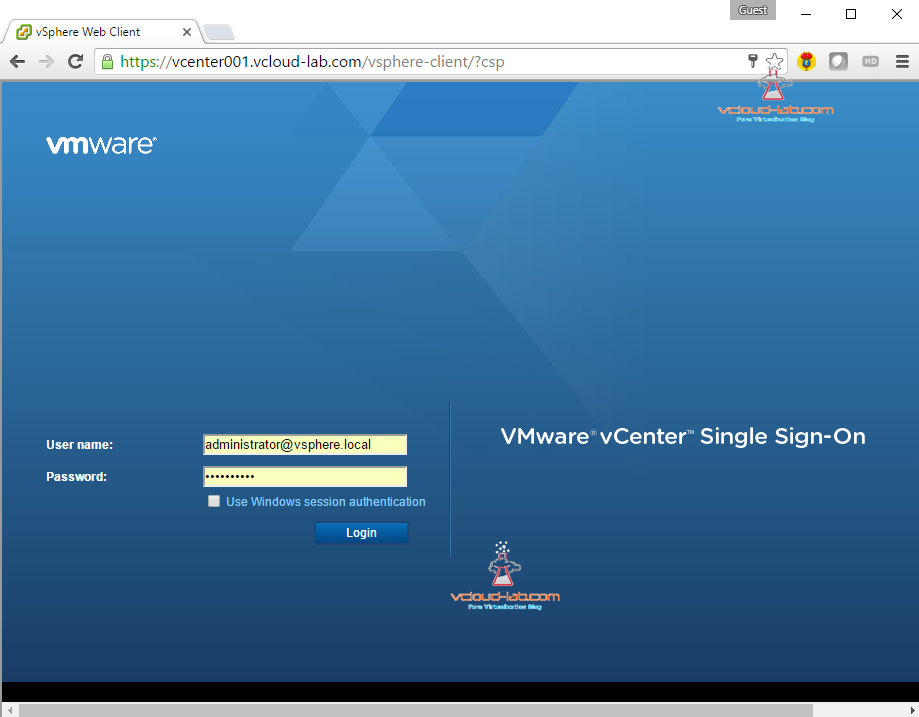 vcenter vsphere vmware single sign on administrator@vsphere.local