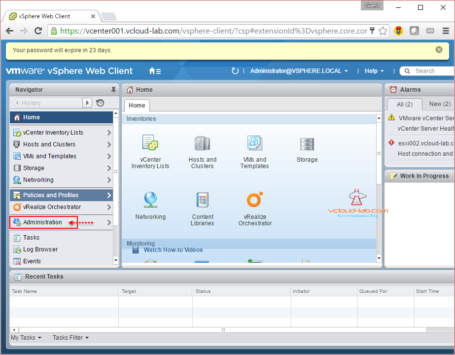 vcenter vmwere vsphere web client sso administration and configuration