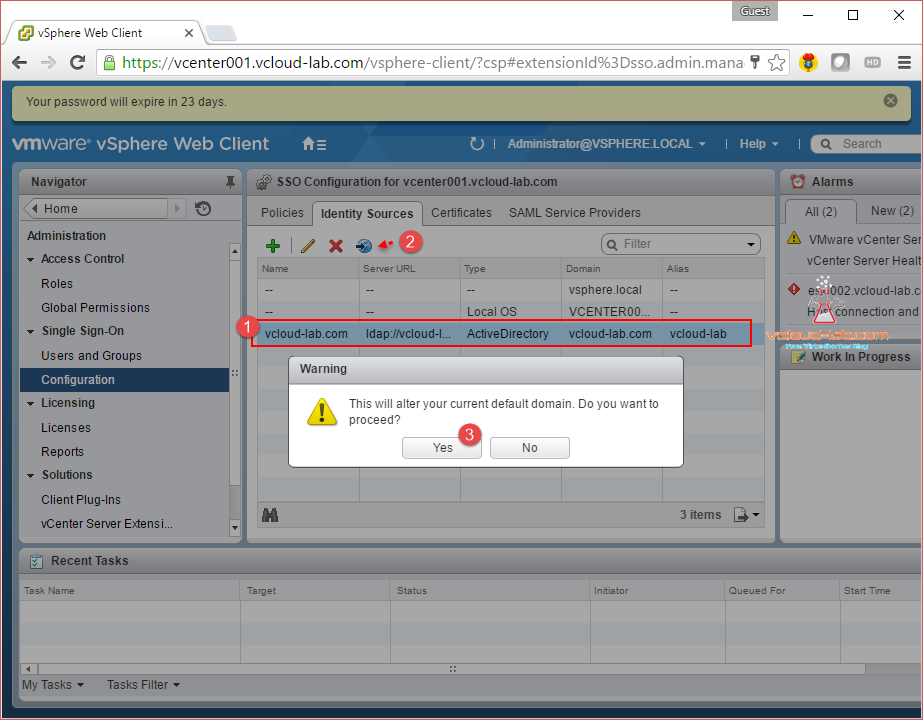 vmware vsphere vcenter web client, sso identity sources default domain