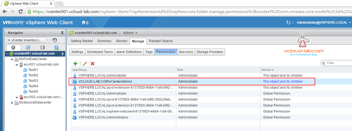 vmware vsphere web client manage permissions user groups administrator propagate to children