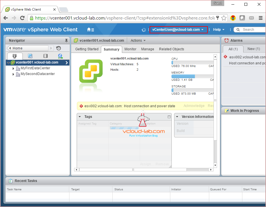 vcenter vmware vsphere web client successful login with domain user