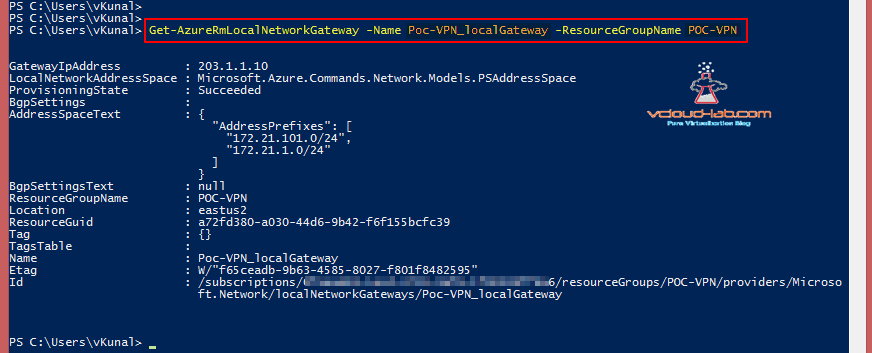 Microsoft Azure Get-AzureRmLocalnetworkGateway name resourcegroup parameters