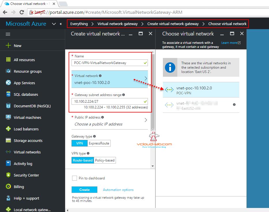 Microsoft Azure create new virtual network gateway choose virtual network and gateway subnet address range