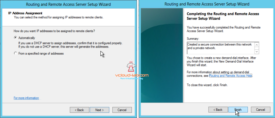 RRAS setup wizard create secure vpn connection private network IP assignment