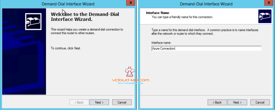 RRAS, Demand-Dial Interface Wizard, interface name vpn azure connection