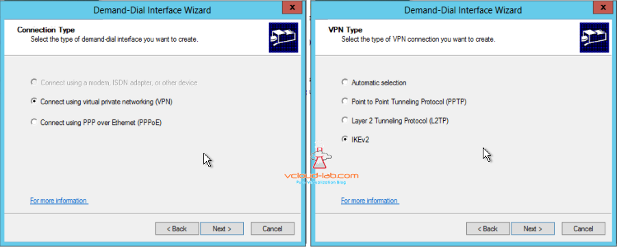 Azure VPN Demand-Dial Interface wizard, connect using virtual private networking IKEv2 vpn protocol