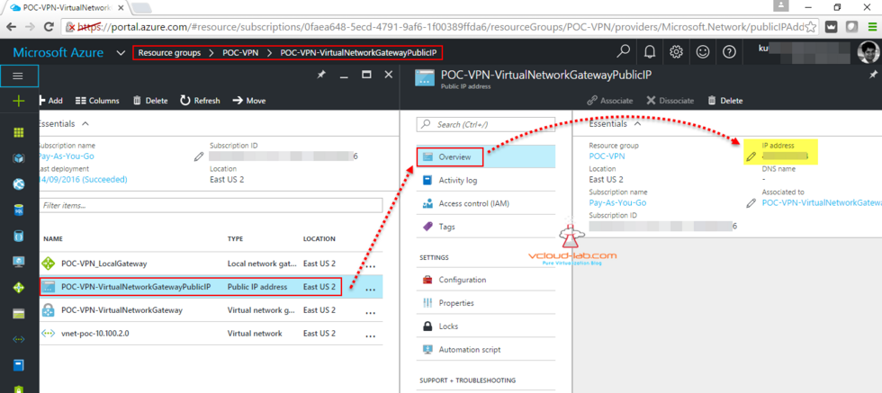 how to Find Microsoft Azure virtual network gateway public ip address