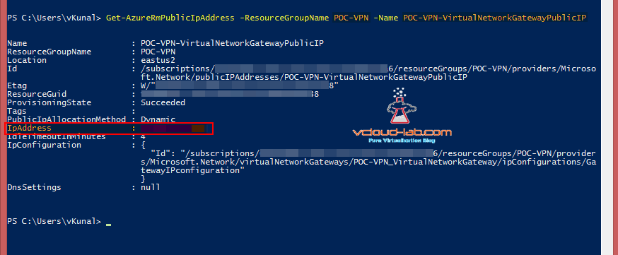 Microsoft Azure powershell Get-AzureRmPublicIpAddress vpn configuration of gateway