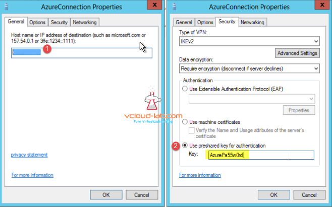 Azure VPN gateway connection Public Ip address, VPN type IKEv2, preshared key for authentication RRAS demand-dial