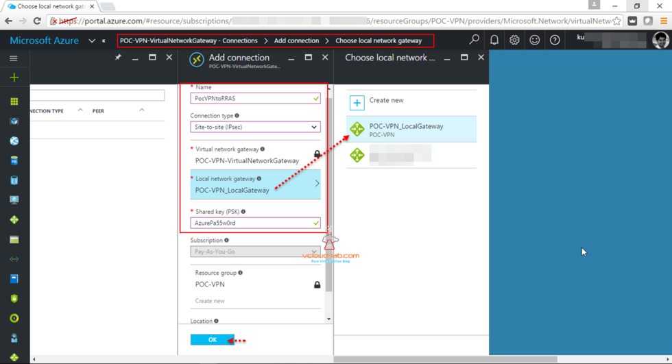 Microsoft Azure Virtual Network Gateway create new Connection using Site-toSite (IPsec) using local network gateway shared key (PSK)