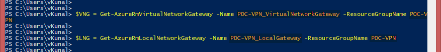 Get-AzureRmVirtualNetworkGateway Get-AzureRmLocalNetworkGateway Microsoft Azure VPN connection Powershell