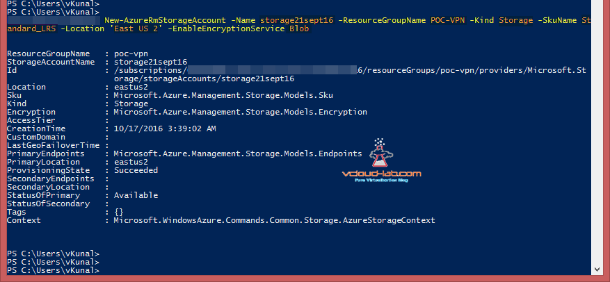 Microsoft Azure Powershell new-AzureRmStorageAccount Kind storage, enabled encryptionservice sku name