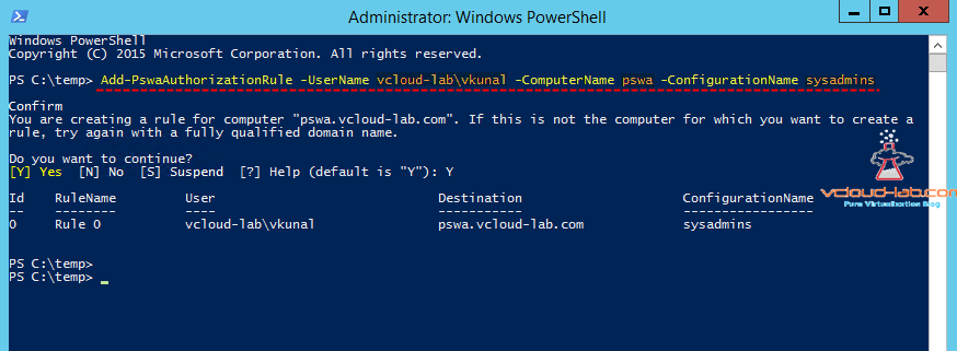 9. Pswa powershell web access server gateway, Powershell Open as an administrator add-pswaauthorizationrule username, computername,  configurationname