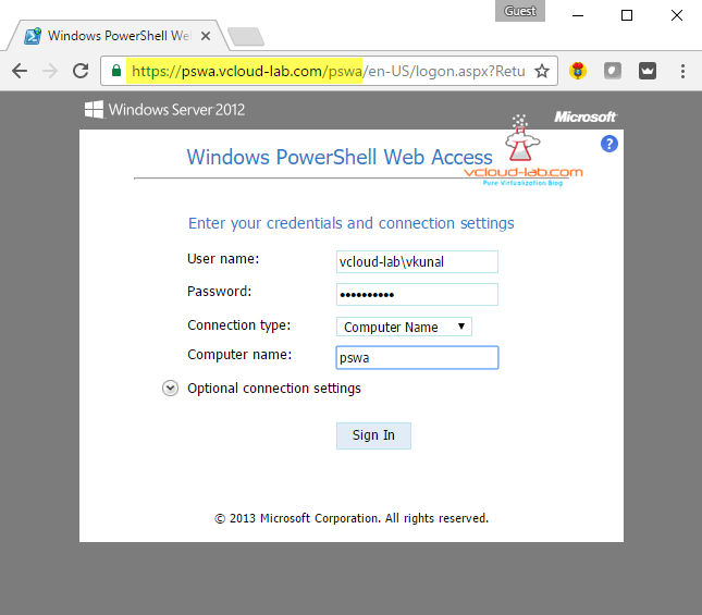 12. Pswa Microsoft windows powershell web access server gateway, powershell web console, enter credentials and connection settings