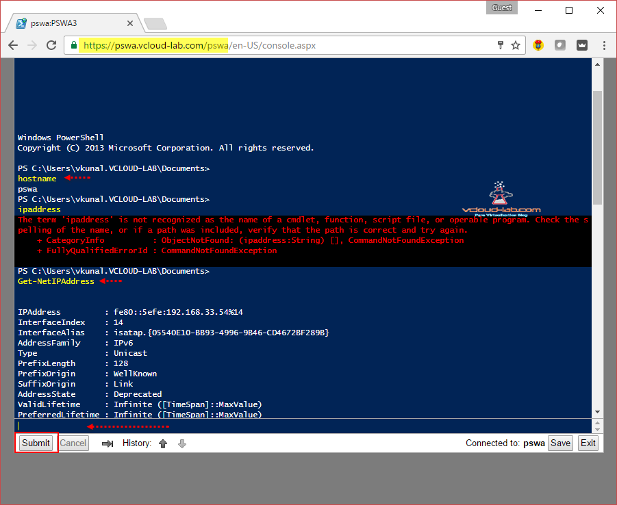 13. Pswa Microsoft windows powershell web access server gateway, powershell web console, Powershell web console on web browser