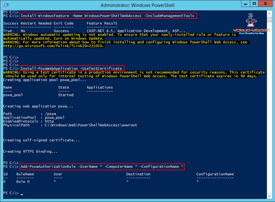 Windows Powershell web access server gateway, Install windows feature windowspowershellwebaccess -includeManagementTools, Install-PswaWebApplication -use testcertificate, add-pswaauthorizationrule