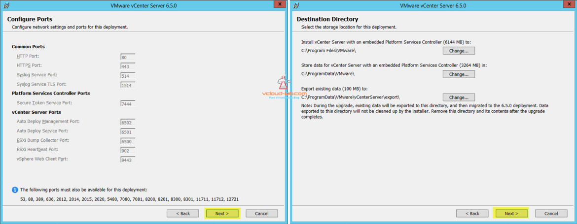 VMware vCenter Server 6.5.0 upgradation configure ports, destination Directory Installation