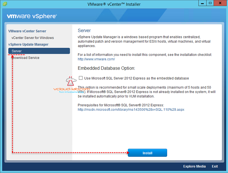VMware vSphere Update Manager upgrade installation from 6.0 to version 6.5