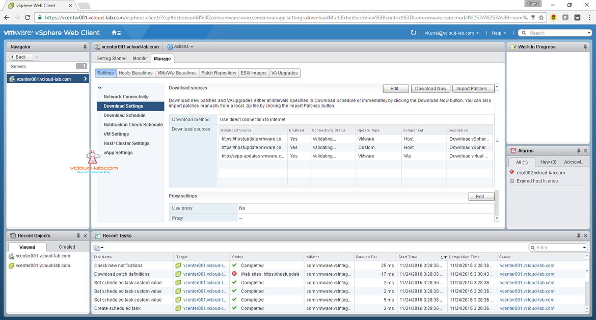 vmware vcenter update manager vum web client management plug-in plugin error resolved