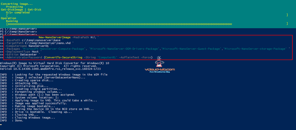 3 powershell create windows 2016 nano server image, nano server image generator, nanoserverimagegenerator module, import-module nano server nanoserver.wim new-nanoserverimage, basepath, targetpath, packages
