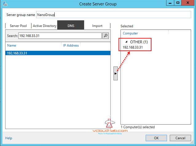 10 Microsoft Windows Nano server 2016 server manager add and create Server group dns for remote management, Manage nano server remotely.png