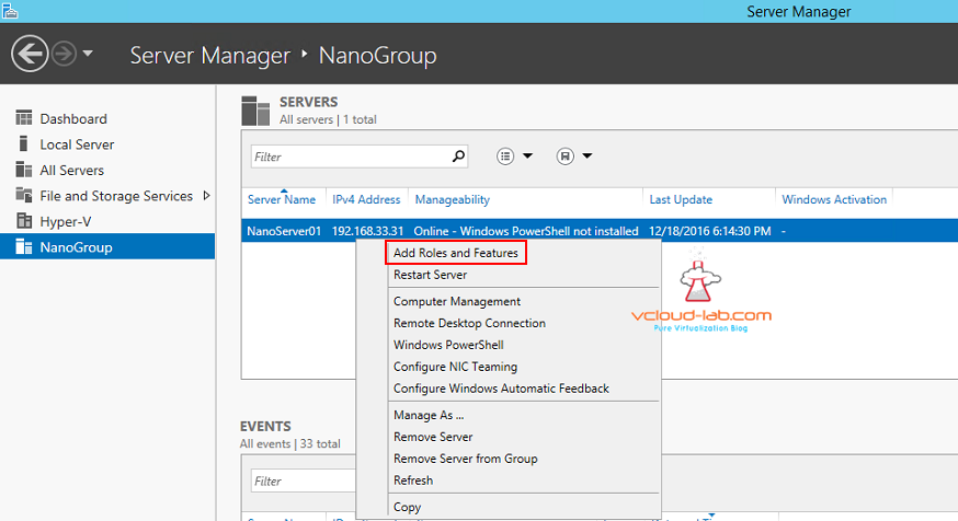 12 Microsoft Windows Nano server 2016 server manager add and create Server group dns for remote management, Manage nano server remotely, Add roles and Features nano server server manager.png