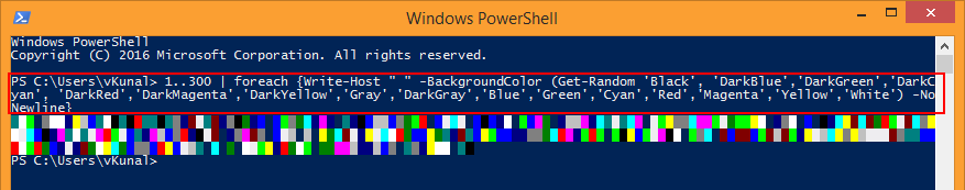 Powershell fun vcloud-lab.com foreach, write-host, background color,  get random, powershell free course online