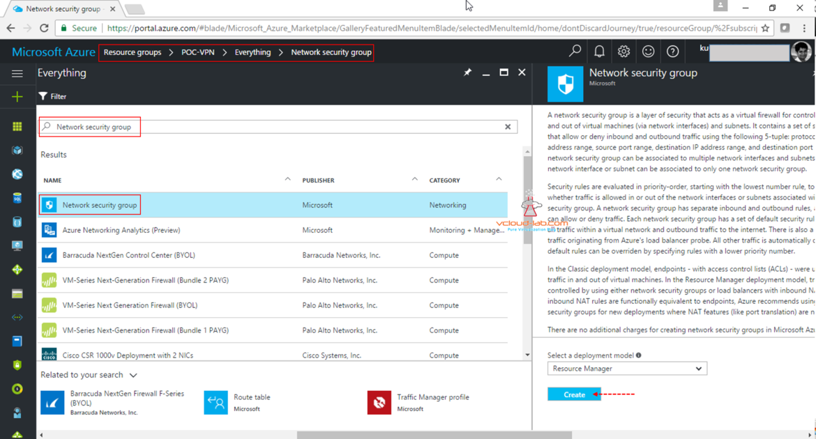 Microsoft Azure create Add new resource manager firewall layer NSG Network Security Group in Resource group barracuda vcloud-lab.com