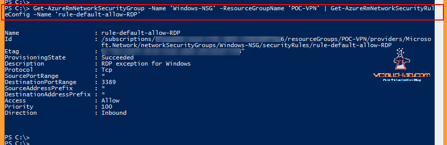 Microsoft Azure powershell NSG, Network Security Group, Add-AzurermnetworkSecurityRuleConfig, NSG inbound outbound rules, tcp udp allow deny Get-AzurermnetworkSecurityRuleConfig, get-AzureRMNetworkSecurityGroup change