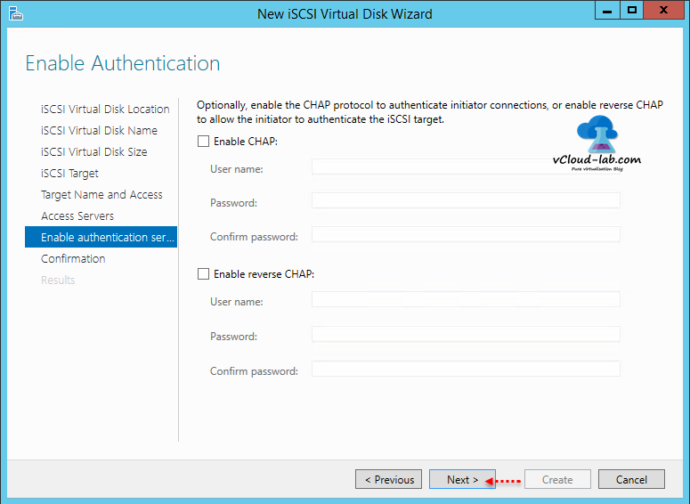 10 iSCSI storage server windows 2012 R2, to create iSCSI Virtual Disks wizard, initiator enable reverse chap authentication, initiator authentication chap protocol