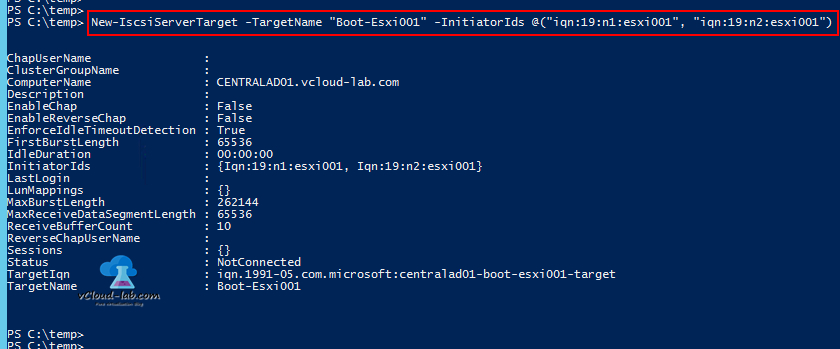 3 Powershell microsoft windows server 2012 R2, Iscsi Target server, New-iscsiservertarget -targetname -initiatorids, iqn