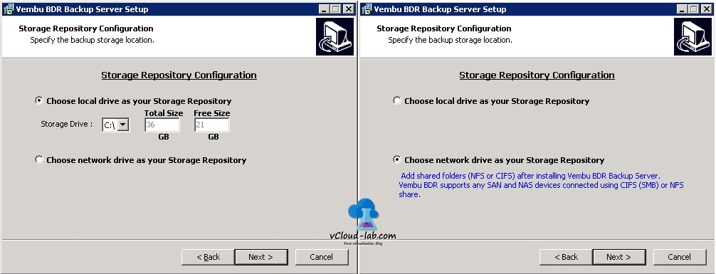 3 vembu bdr installation storage repository configuration, local and remote cifs smb