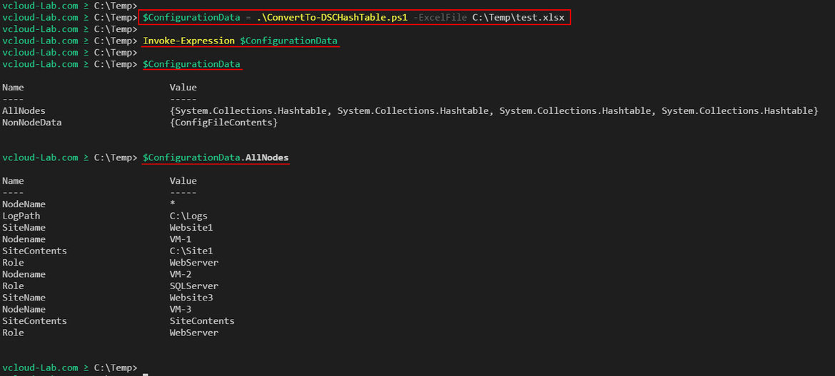 Powershell Convert Microsoft Excel to Dsc desired State Configuration ConvertTo-DSCHashTable, Invoke-Expression, hashtable format nodename, Role, NonNodeData, AllNodes, Automatic Variable, confdata, configurationdata