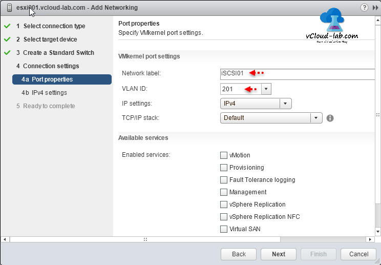 VMWare vSphere vCenter Esxi Server add networking configuration Port Properties, specify VMKernel port settings, Network label, VLAN ID, IP Settings, TCP IP stack, available services vmotion, provisioning, ft, management replication, vsan, virtual san, vsphere replication nfc, fault tolerance logging