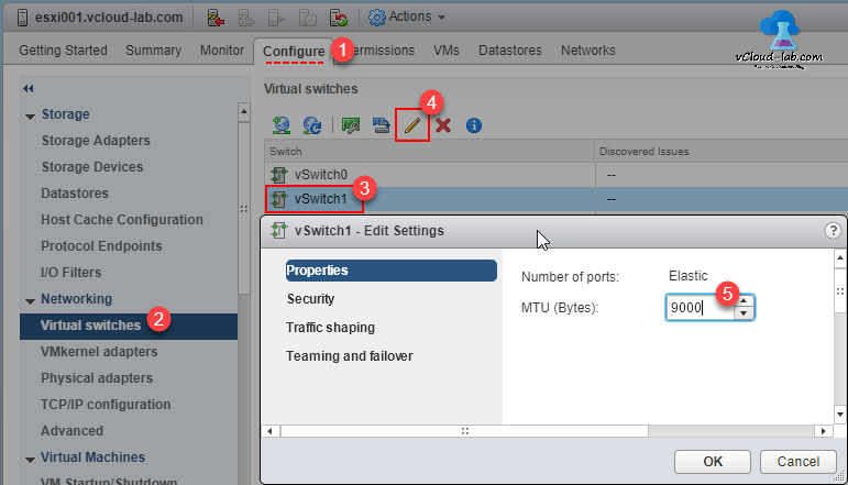 VMware vSPHERE web client vcenter esxi vswitch, virtual switches, standard switch, edit virtual switch properties, increase MTU, edit settings vmware