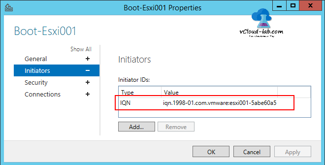 Add iSCSI qualified name IQN initiators in the iSCSI Storage server Target
