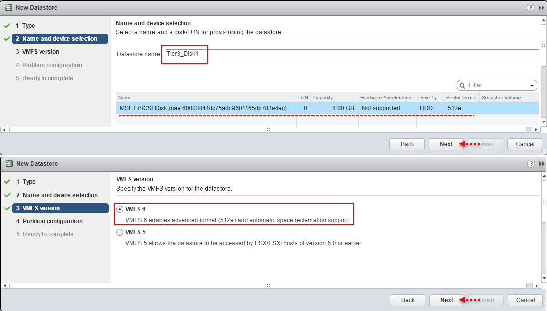 vmware vsphere esxi create a new VMFS datastore, Name and device selection, LUN disk, datastore name and device selection , sector format 512e, hardware acceleration, vmfs 6 version automatic space reclaimation support