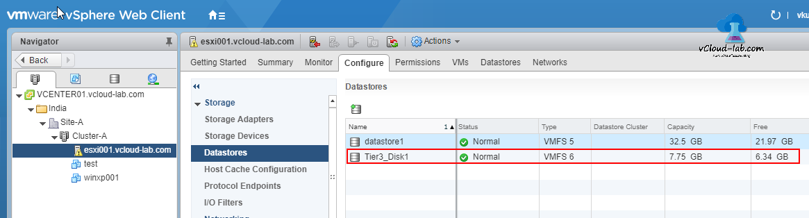 Datastores in esxi after adding as VMFS 6, datastore version, datastore cluster, capacity, free, status normal
