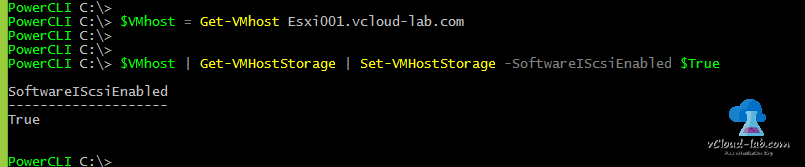 vmware vsphere esxi powercli add enable iscsi storage adapter vmhba, host bus adapter, get-vmhost, get-vmhoststorage, Set-vmhoststorage, SoftwareIScsiEnabled
