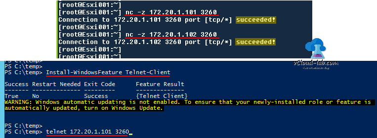 Install-windowsFeature telnet-client, esxi telnet 3260 iscsi, nc, netcat putty esxi ssh