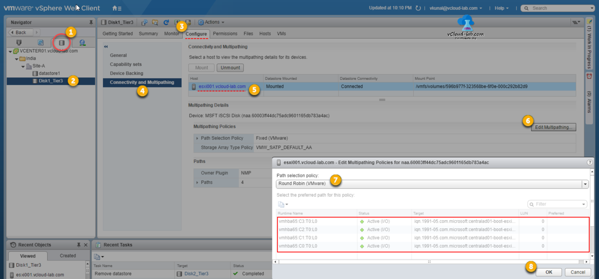 vmware vsphere vcenter esxi datastore configure connectivity and multipathing details, policies,  mounted datastore, Round robin, fixed, MRU most recently used, runtime name, preferred path,nmp, native multipathing path