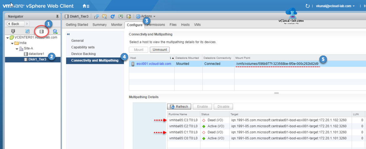 VMware vsphere web client esxi vcenter datastore view storage, configure, connectivity and multipathing mounted NAA vmfs volumes, dead active target lun status.png
