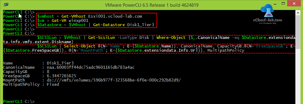 vmware vcenter vsphere powercli get-vmhost, get-vm, Get-datastore, Get-scsilun multipathPolicy, CanonicalName, extent, extensiondata, freespacegb, capacityGB datastore storage, vmfs example