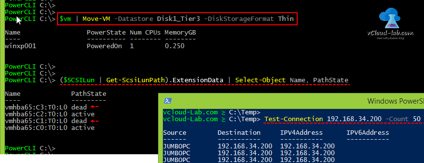 vmware vsphere esxi vcenter powercli, move-vm datastore storage vmotion, diskstorageformat thin, migrate, Get-ScsiLunPath, extensiondata, Pathstate dead, active, test-connection -count ping vm, port binding