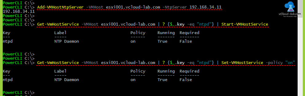 Powercli vmware esxi time configuration NTP (Network time Protocol) Add-VMHostNtpServer vmhost ntpserver Get-vmhostservice key start-vmhostservice, Set-VMhostservice ntpd ntp daemon policy on, Service status running true false