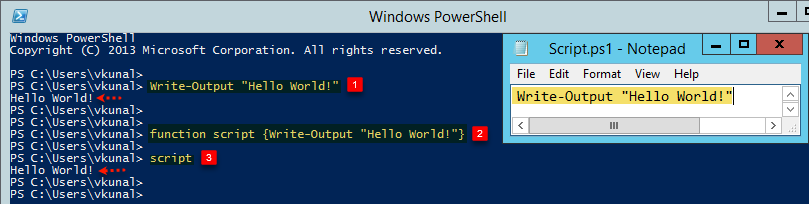 vcloud-lab.com script notepad microsoft windows Powershell write-output hello world, script example, advance Function execute blocked script